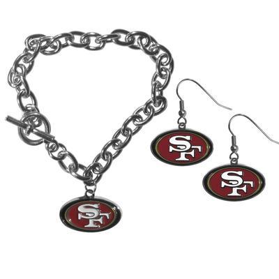 San Francisco 49ers Chain Bracelet and Dangle Earring Set - Siskiyou Buckle FDEN075CBR