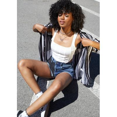 Rue21 Womens Black Dark Wash Two Tone Super High Rise Rolled Hem Jean Shorts - Size 16