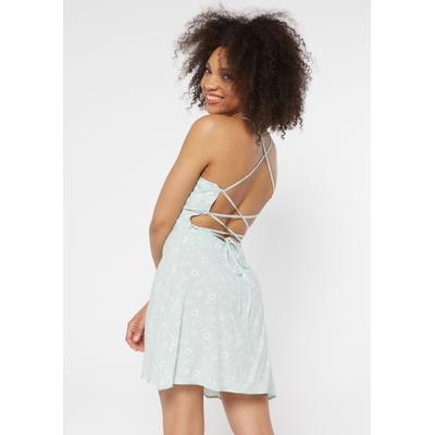 Rue21 Womens Mint Daisy Print Lace Up Crisscross Back Dress - Size L