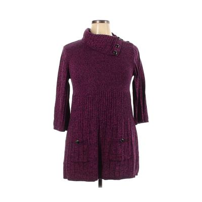 Style&Co - Style&Co Casual Dress - Sweater Dress: Purple Solid Dresses - Used - Size X-Large