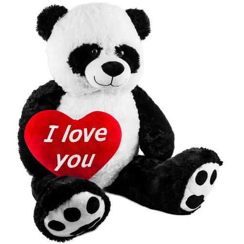 Brubaker XXL Panda 100cm mit einem I Love You Herz Stofftier