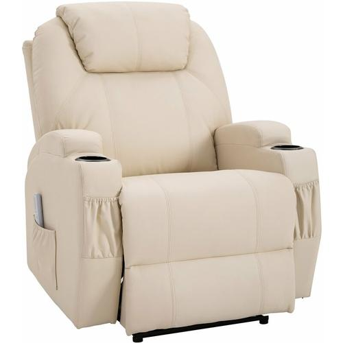 HOMCOM® Massagesessel Liegefunktion 82 x 97 x 110 cm Beige - beige