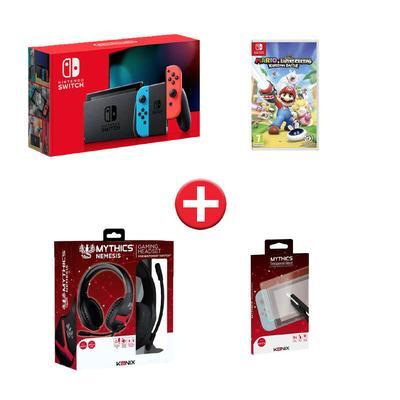 Console switch, verre trempé, casque Nemesis switch, jeu Mario lapin cretin