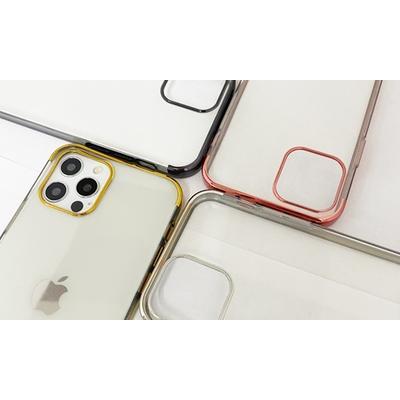 Coque en TPU galvanisé pour iPhone avec 2 protections d écran : iPhone 12 - 12 Pro / Argent