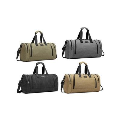 E1957 - Kono Canvas Barrel Duffle Travel Bag Grey