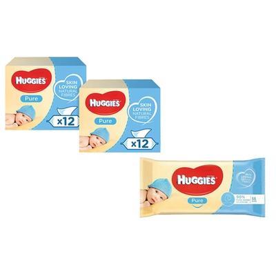 Huggies Pure Baby Wipes 12 Pack