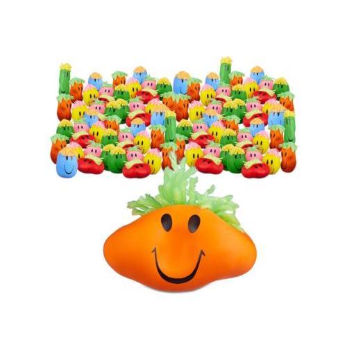 48x Knautschball mit Gesicht Wut-Ball Kinder und Erwachsene Anti Stress Ball bunt Erwachsene