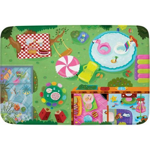 Spielmatte 100x150 - extra weich - Garten bunt