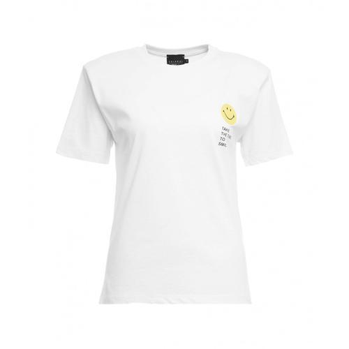 Joshuas Damen T-Shirt Smiley mit Schulterpolster Weiß