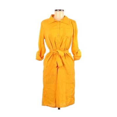 Assorted Brands - Assorted Brands Casual Dress - Shirtdress: Yellow Solid Dresses - Used - Size Medium