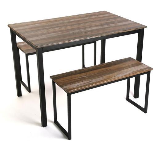 Taline Esstisch mit zwei Bänken, 76x70x110cm - Versa