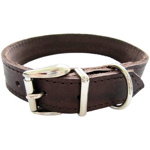 HEIM Hunde-Halsband, Echtleder, Länge: 45 cm braun Hundehalsbänder Hund Tierbedarf Hunde-Halsband