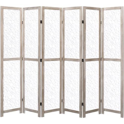 6-teiliger Raumteiler Weiß 210 x 165 cm Massivholz