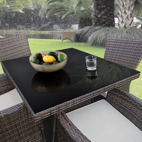 Glasplatte Ø90 cm Rund Schwarz