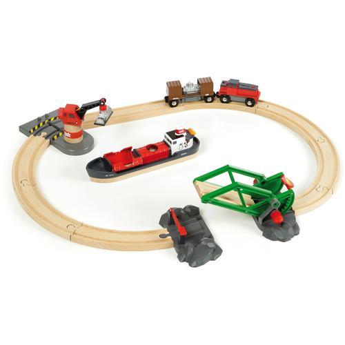 BRIO Spielzeug-Eisenbahn WORLD Container Hafen Set, FSC-Holz aus gewissenhaft bewirtschafteten Wäldern bunt Kinder Kindereisenbahnen Autos, Eisenbahn Modellbau