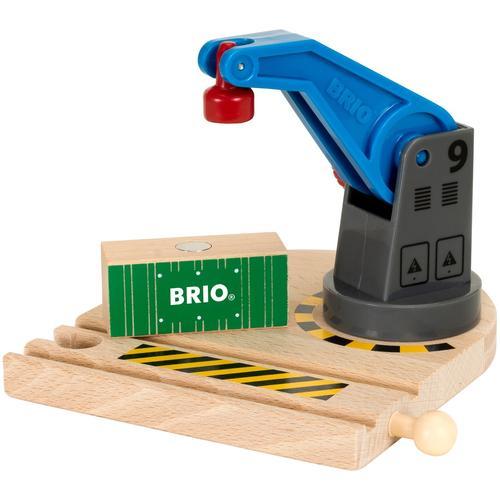 BRIO Spielzeugeisenbahn-Erweiterung WORLD Eisenbahn-Magnetkran, FSC-Holz aus gewissenhaft bewirtschafteten Wäldern bunt Kinder Holzspielzeug