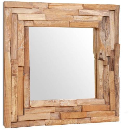 Dekorativer Spiegel Teak 60 x 60 cm Quadratisch - Youthup