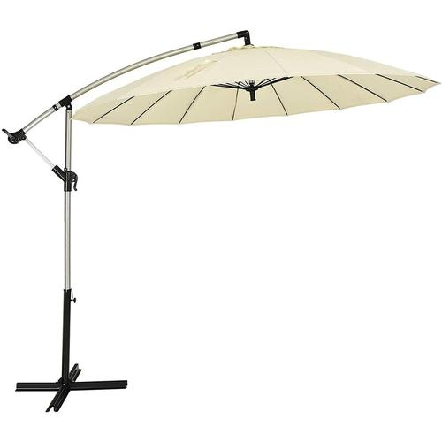?300cm Sonnenschirm Ampelschirm mit 16 Rippen, Gartenschirm inkl. Schirmstaender, Terrassenschirm