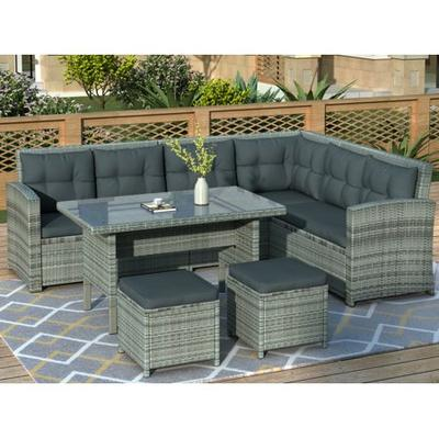 Pe Wicker Chairs Dining Table Pillows, Outdoor Sectional Couch With Dining Table