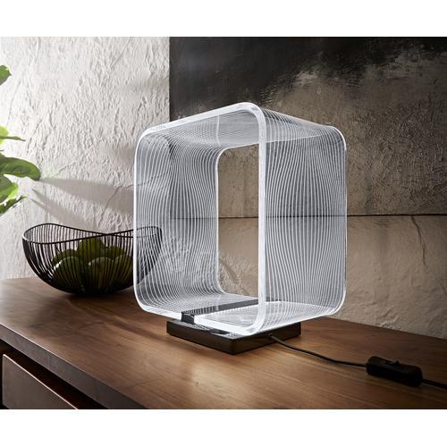 DELIFE Tischleuchte Scatola 29x18x32 cm transparent LED 6W Tischlampe, Tischleuchten