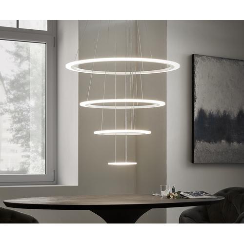 DELIFE Deckenleuchte Tondo weiss D80x150 cm LED 4 Ringe Designlampe, Hängeleuchten