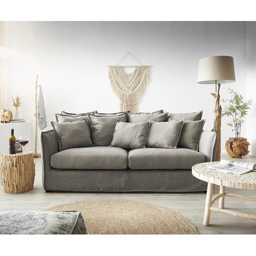 DELIFE Hussensofa Ayla 208x139 cm Beige mit Kissen Couch, Big Sofas