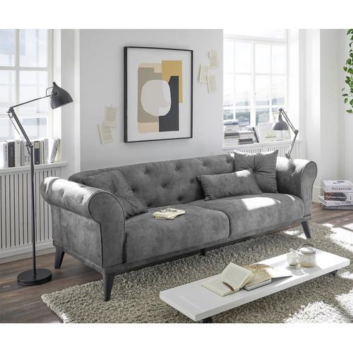 DELIFE Schlafsofa Carey 237x95 cm Grau 3-Sitzer, Schlafsofas