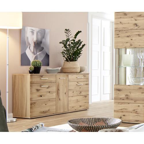 DELIFE Sideboard Algir 150 cm Eiche Natur 3 Schübe und 2 Türen, Sideboards