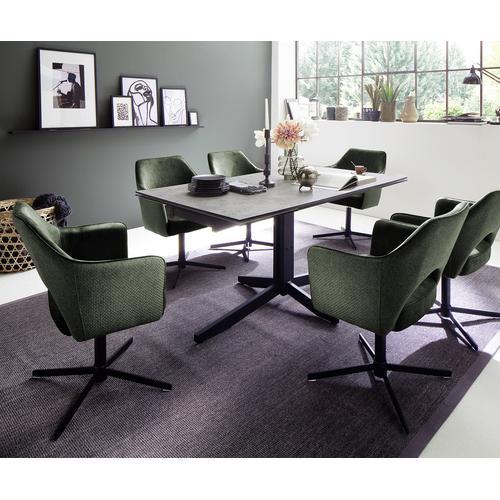 DELIFE Drehstuhl Kasai Chenille Olive Armlehne Oval Schwarz Metall, Esszimmerstühle
