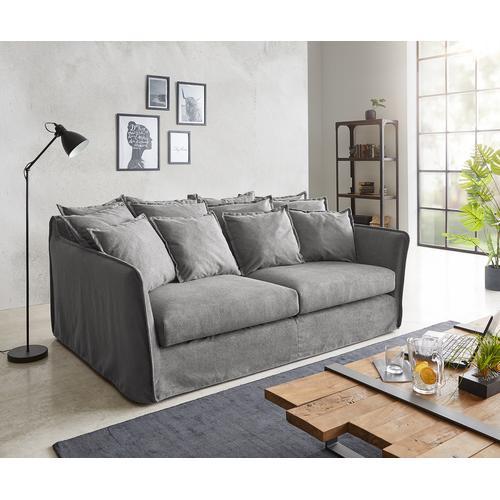 DELIFE Hussensofa Ayla 208x139 cm Taupe mit Kissen Couch, Big Sofas