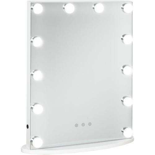 ® Hollywood Spiegel Schminkspiegel für Schminktisch Theaterspiegel mit 3-Licht - weiß - Homcom