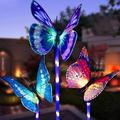 Polaris-Sal Butterfly Garden Solar Lighting For Outdoor, 3 Pieces Solar Garden Light Color Change Led Light Fiber Optic Lighting Outdoor Party Decorations Lighting For Lawn Path Walkway