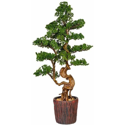 Pflanzen Kölle - Kunstpflanze Bonsai Lärche, grün, ca. 125 cm, im braunen Magnesiatopf 26 x 26 cm