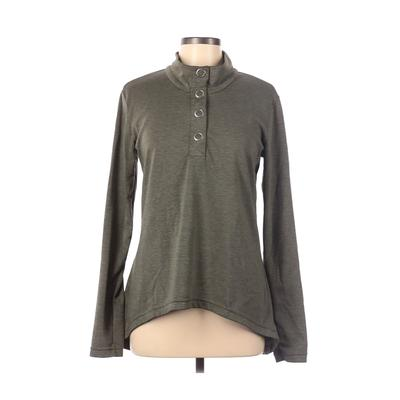 Merrell Long Sleeve Henley Shirt: Green Solid Tops - Size Large