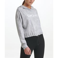 DKNY Women's Sweatshirts and Hoodies PEARL - Heather Pearl Gray Pixel Palm Crop Hoodie - Women