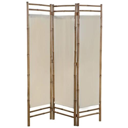 Betterlife - 3-teiliger Faltbarer Raumteiler Bambus und Leinwand 120 cm