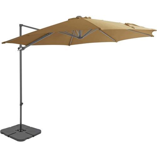 Sonnenschirm mit Schirmständer Taupe