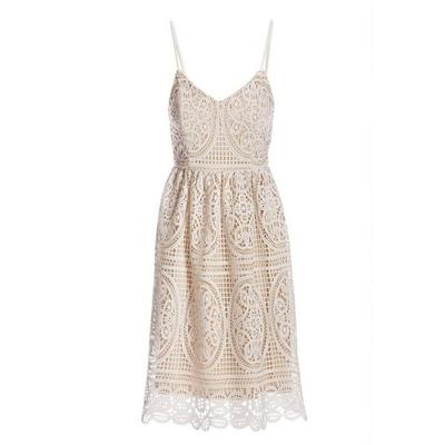 Boston Proper - Lace Fit-And-Flare Dress - White Multi - 04