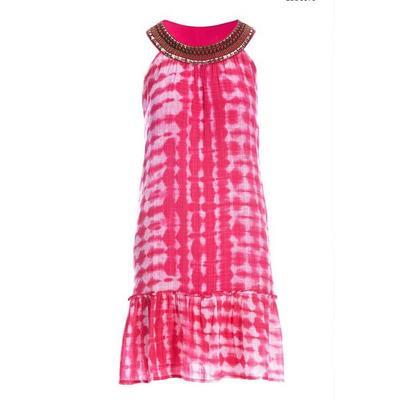 Boston Proper - Embellished Tie-Dye Shift Dress - Pink Multi - Small