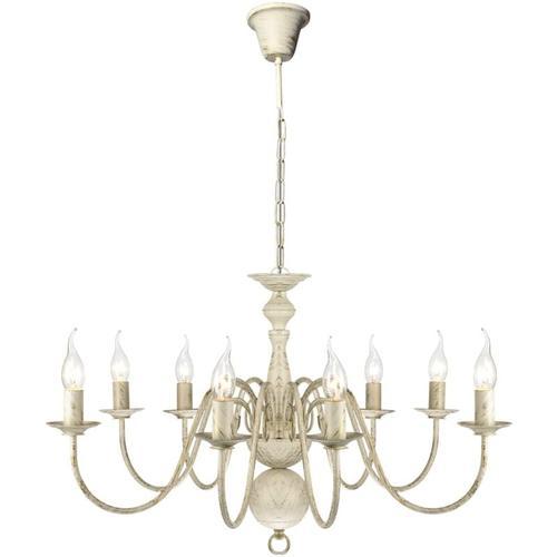 Metall-Kronleuchter Weiß Antik 8 x E14 Glühbirnen