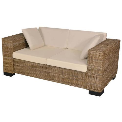 7-tlg. 2-Sitzer Sofa Set Echtes Rattan