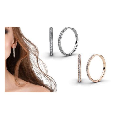 Ohrringe mit Swarovski®-Kristallen: Silber und Roségold/2