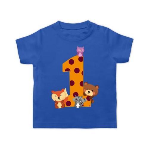 Baby Geburtstag Geburtstagsgeschenk 1. Geburtstag Waldtiere T-Shirts Kinder blau Baby