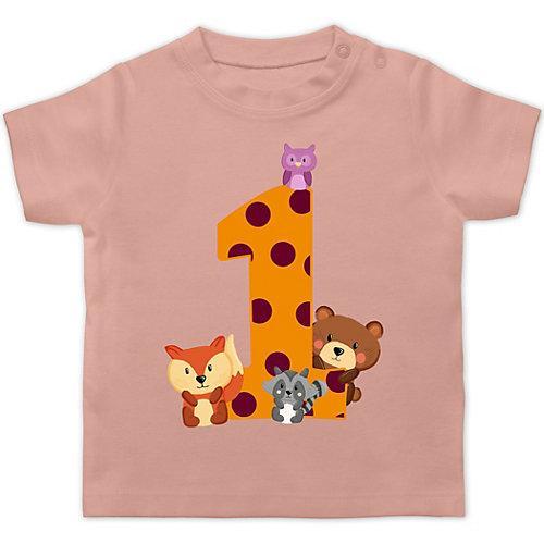 Baby Geburtstag Geburtstagsgeschenk 1. Geburtstag Waldtiere T-Shirts Kinder hellrosa Baby