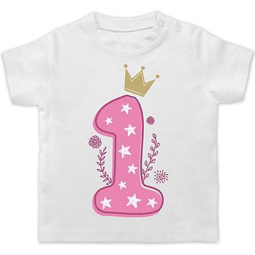 Baby Geburtstag Geburtstagsgeschenk 1. Geburtstag Mädchen Krone Sterne T-Shirts Kinder weiß Baby