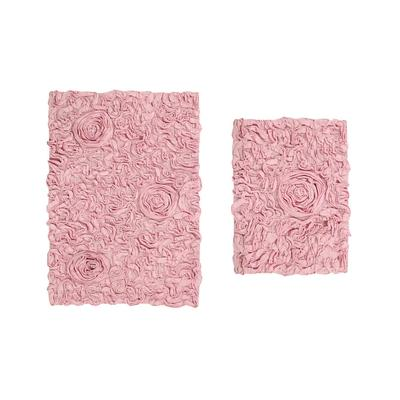 Bell Flower 2 Piece Bath Rug Collection by Home Weavers Inc in Pink