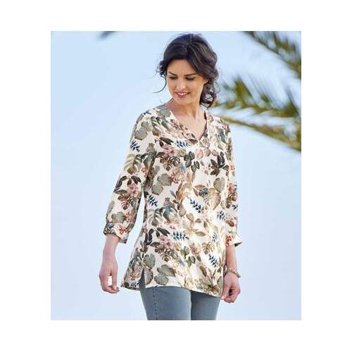 Krepp-Bluse mit Blumendekor