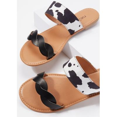Rue21 Womens Cow Print Double Braided Band Sandals - Size 8