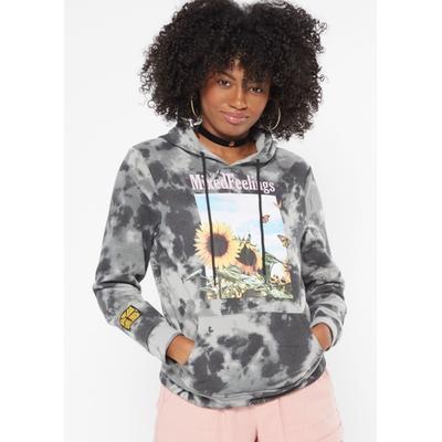 Rue21 Womens Black Tie Dye Mixed Feelings Sunflower Graphic Hoodie - Size S