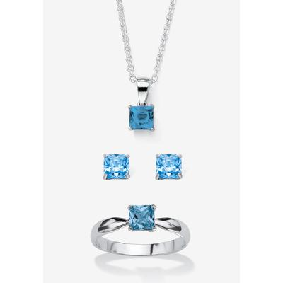 """Plus Size Women's Sterling Silver Simulated Birthstone Ring Earring and Necklace Set 18"""" by PalmBeach Jewelry in March (Size 9)"""